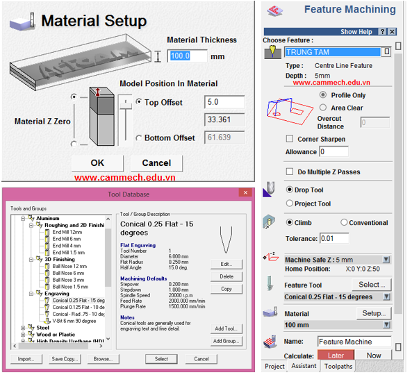 Feature Machining 3D Toolpath